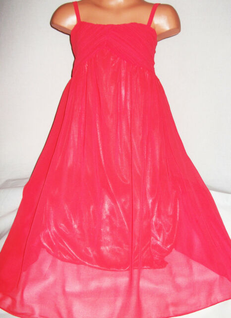 GIRLS CORAL GRECIAN CHIFFON LONG LENGTH MAXI DRESS