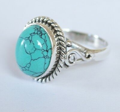 925 Sterling Silver Ethnic Ring 11x9mm Turquoise Handmade : Blue Mystery