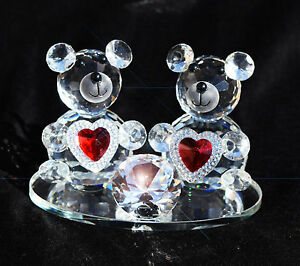 CRYSTAL-PAIR-TEDDY-BEARS-WITH-RED-HEART-I-LOVE-YOU-VALENTINE-GIFT-WITH-GIFT-BOX