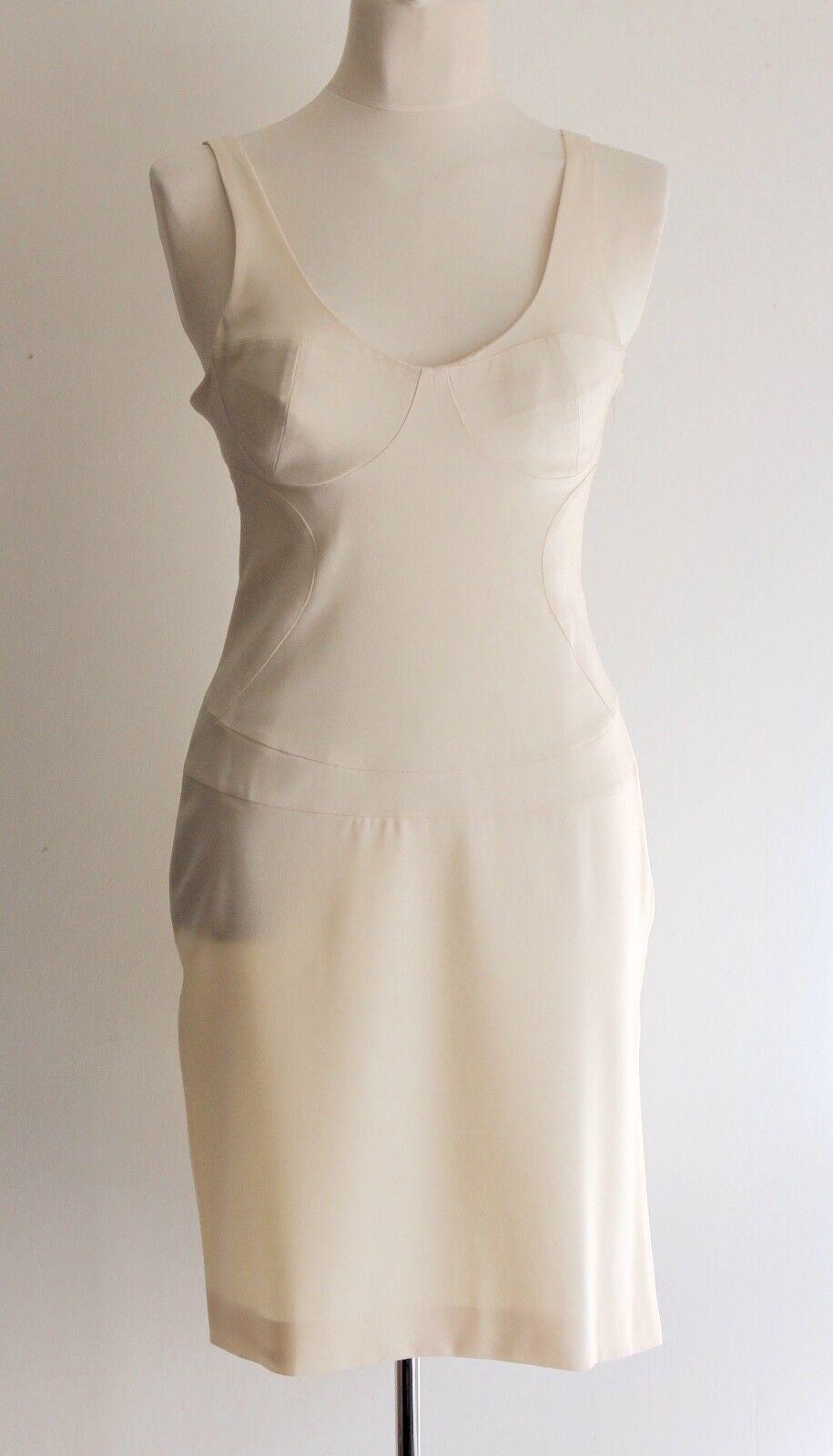 Vintage Gianni Versace Versus Cream Sculpted Dress Sized IT 42 Fit  10