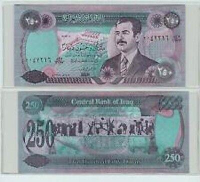 Saddam Iraqi 250 Dinar Note Old