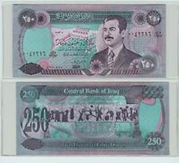 Saddam Iraqi 250 Dinar Note Old Circulated Iraq Money Online Ebay
