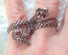 Beautiful Dark Gold or Copper Brass Double Snake Ring See Sizes in Description