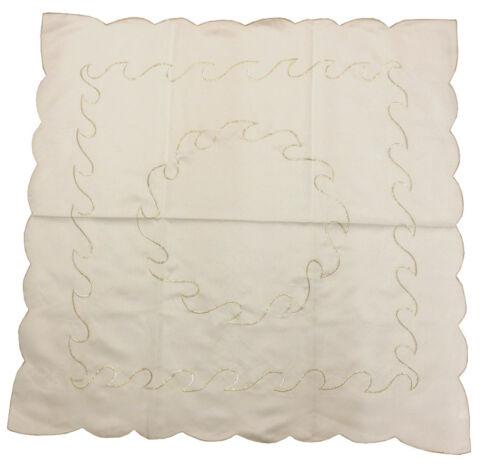"""36 /""""sq crème gold scalloped edge table nappe embellissements métalliques vagues ivoire"""