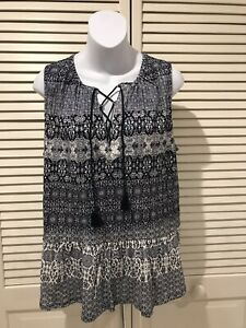 NWT-Lucky-Brand-Navy-Blue-White-Sleeveless-Patterned-Blouse-Large