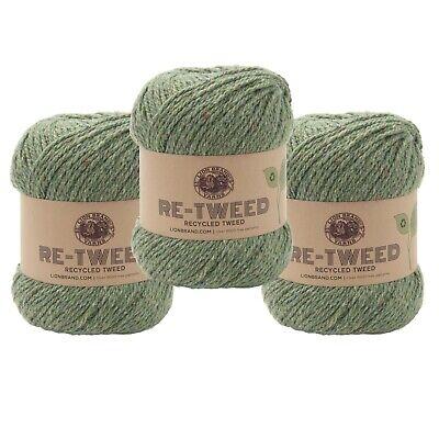 Lion Brand Yarn 253-173 Re-Tweed Yarn Pack of 3 Olivine