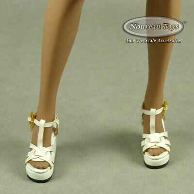 Female White Lace Strap Sling-Back Wedge Shoes 1//6 Scale Phicen NT TBLeauge