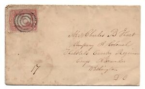 Antique-Postal-Cover-Civil-War-Halsted-039-s-Cavalry-Regt-Col-Hart-Bullseye-Cancel
