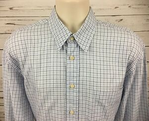 Canali-Mens-L-Button-Up-Dress-Shirt-Long-Sleeve-Blue-White-Plaid-Made-In-Italy