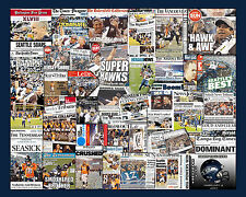 """Seattle Seahawks 2014 Super Bowl Newspaper Collage Poster- 16x20"""" Unframed"""