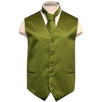 New Brand Q solid polyester men's Vest tuxedo waistcoat_necktie Olive Green