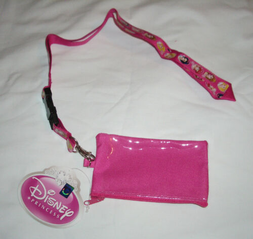 Hot Pink Disney Princesses Lanyard Zipper Wallet Fast Pass ID Pouch Badge Holder