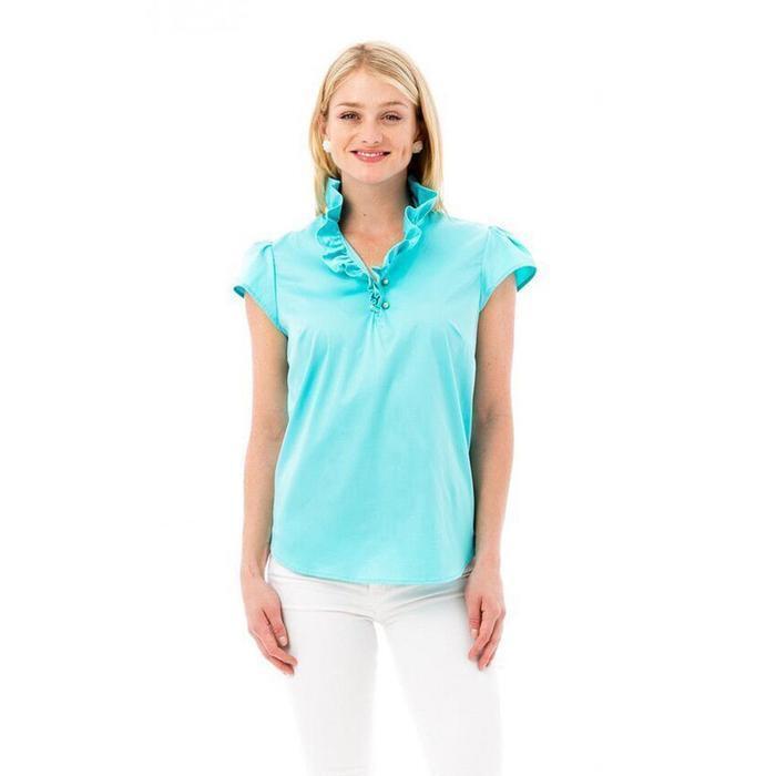 Elizabeth McKay New 4082-03 Rain Elizabeth Shirt Ruffled Button Front Top Size 2