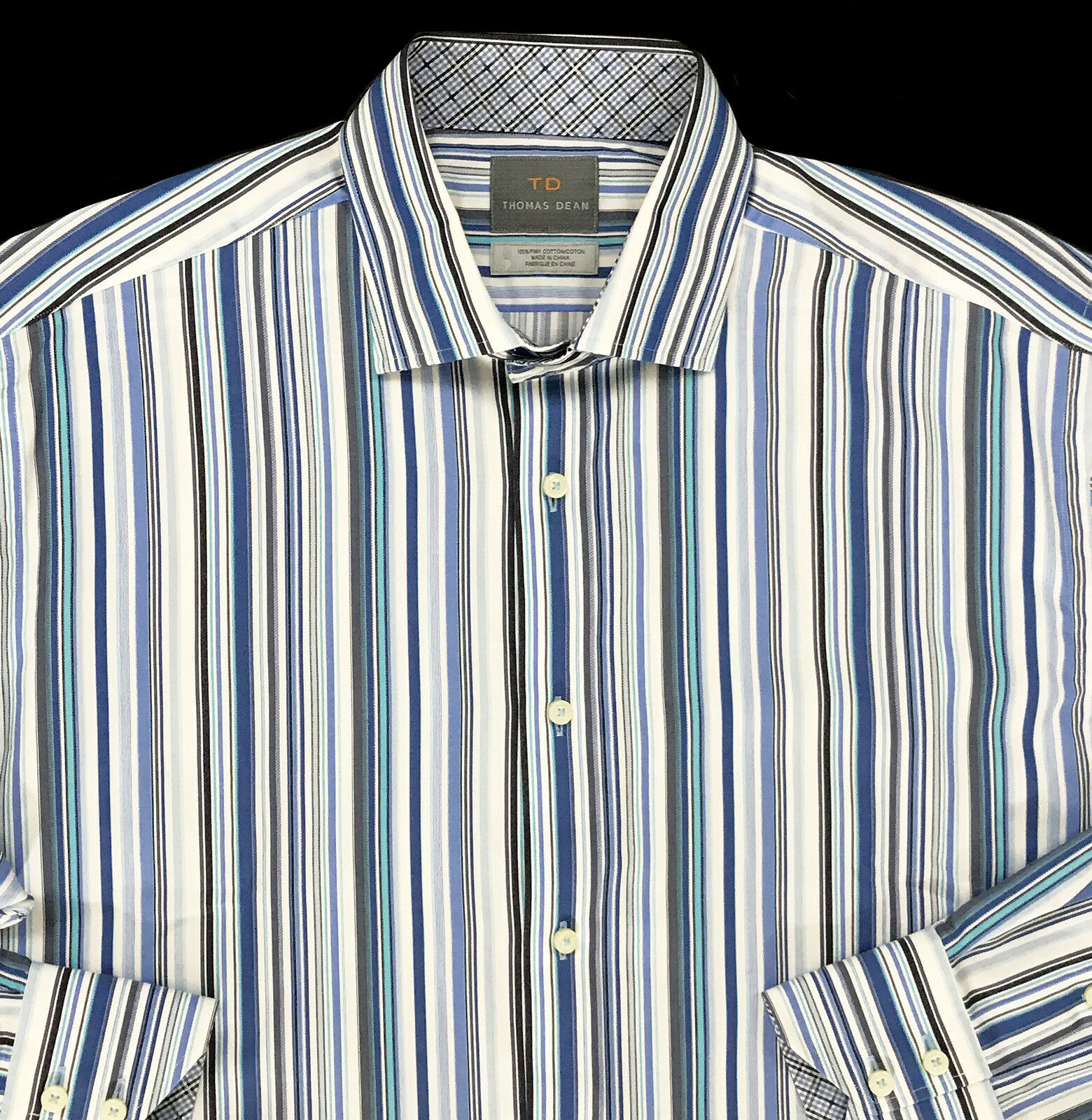 Men's THOMAS DEAN bluee White colors Striped Shirt XL X-Large NEW NWT Nice  +