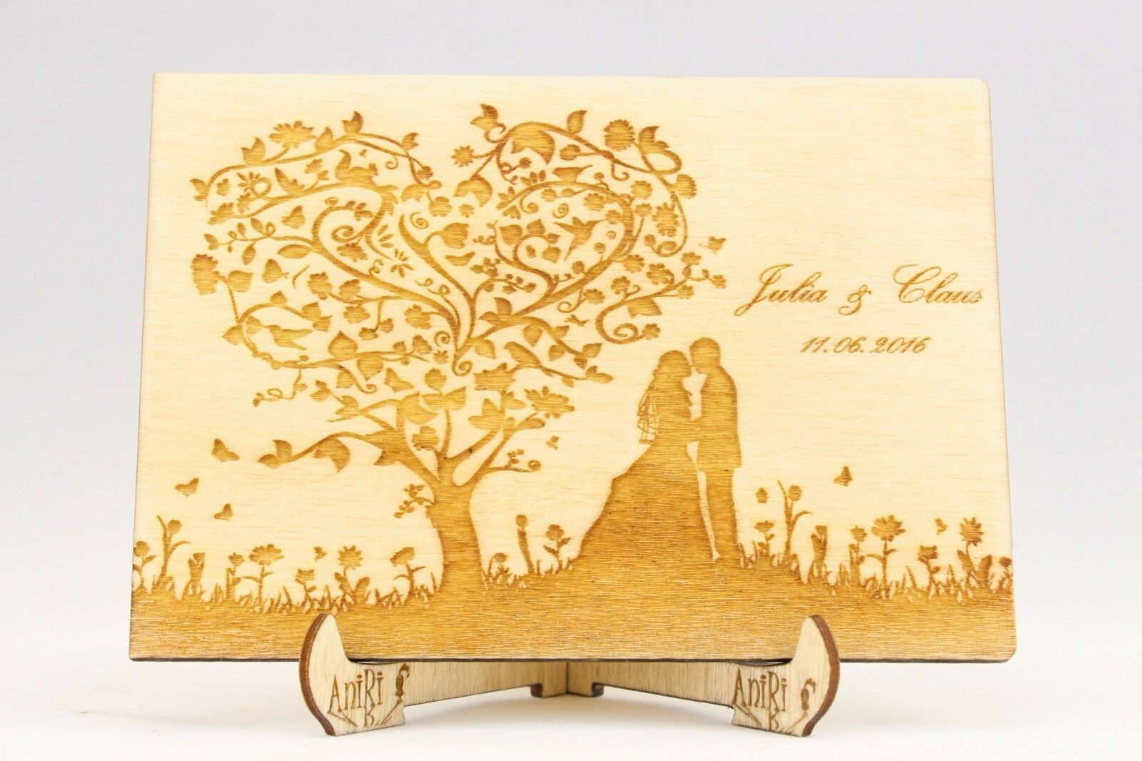 Individualisiert Fotoalbum, Holz, Hochzeit, Baum der Liebe, Album, Fotos