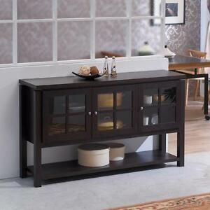 Details About Wood Buffet Dining Room Server Sideboard Cabinet Storage Console Walnut Finish