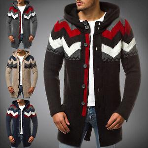 Details zu Sweatjacke Kapuzenpullover Strickjacke Pulli Lang Sweater OZONEE MAD2659 Herren