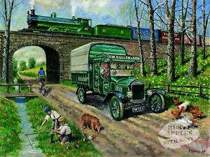 Details About Vintage Road V Steam Train Quickest Way Metal Sign Home Decor Man Cave