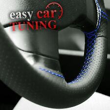 FOR VW CADDY 2004+ BLACK PERFORATED GENUINE LEATHER STEERING WHEEL COVER BLUE ST