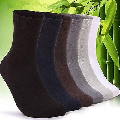 5 Pairs Ventilation Men's Cotton Short Bamboo Fiber Solid Socks Middle Stockings