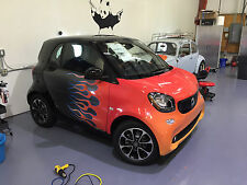 Smart car flames graphics vehicle wrap. Vinyl decal sticker. Custom hot rod