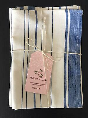 NEW LINEN BLEND Cottage Stripe DINNER NAPKINS SET of 8 HANDMADE FRENCH BLUE