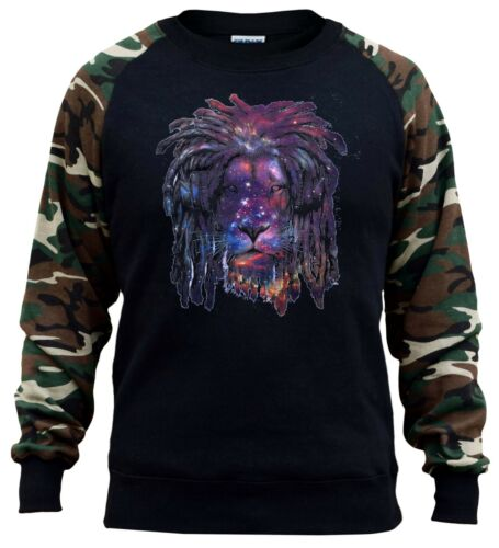 Men/'s Galaxy Lion Headphones Camo Raglan Sweatshirt Rasta Rave Party Dance DJ