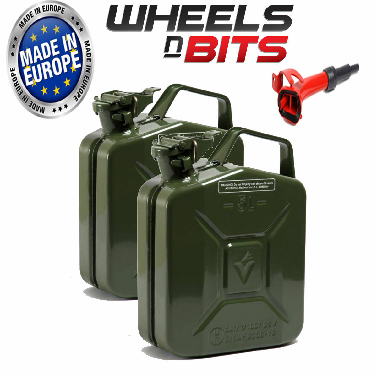 2 x 5L Litre GREEN JERRY MILITARY CAN FUEL PETROL DIESEL RED green WITH SPOUT