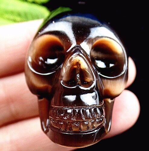 40x30x22mm brown cat eye gemstone carved skull pendant bead K36737
