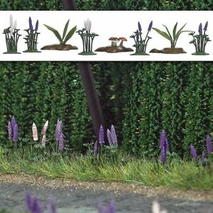 Busch-1234-Gauge-H0-Wild-Lupines-Ferns-And-Mushrooms-Ready-Mounted-New-Boxed