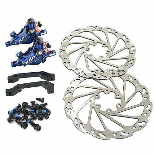 Fast shipping juin TECH r1 Hydraulic Disc Brake Set 160mm WrossoORE F  R, blu