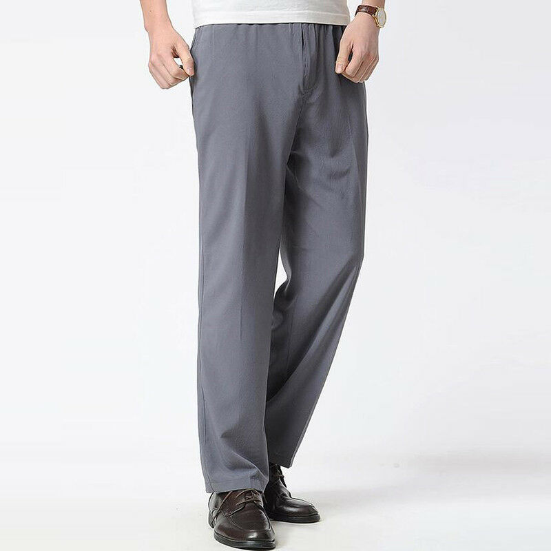 Men Casual Loose Long Trousers Elastic waist pants Slim Fit Dress Formal Pants