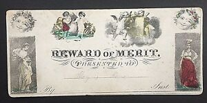 REWARD-of-MERIT-1851-PRESENTED-to-MARY-KANE-COLORFUL-CERTIFICATE-with-NOTATION