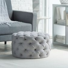 Round Tufted Ottoman For Bedroom Footstool Side Table Coffee Seat Retro Gray