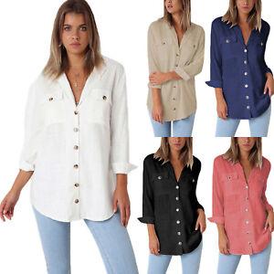 Women-039-s-Casual-Loose-Blouse-Long-Sleeve-T-shirt-Lady-OL-Shirts-Cotton-Linen-Tops