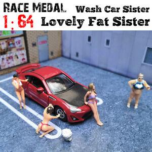 1-64-Race-Medaille-Figuren-Waschen-Auto-liebliche-Fette-Schwester-Modell-fuer-Tomy-Matchbox-Siku