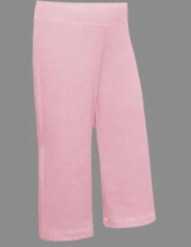 100/% Cotton Girls Capri Length Yoga Pants Wide Leg Black Pink Brown Size 7-16