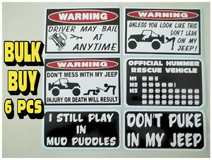 Image is loading FUNNY-WARNING-JEEP-STICKERS-4X4-OFFROAD-UTILITY-MUD-