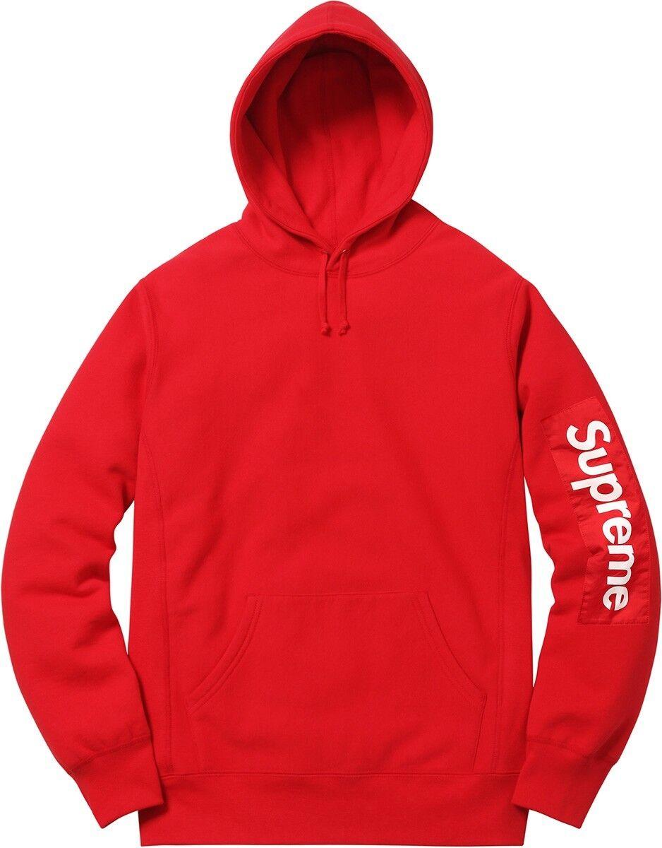 Supreme SS17 Sleeve Patch Hooded Sweatshirt ROT Größe Large