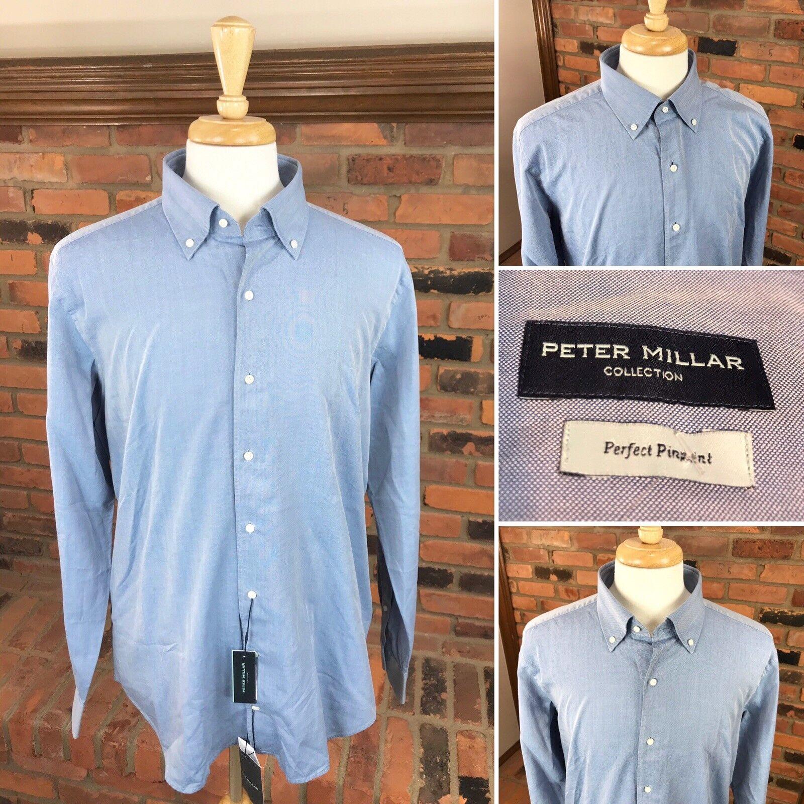 Peter Millar PERFECT PINPOINT Dress Shirt L S Button-Down  Men's L   bluee
