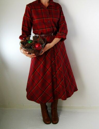 Red Plaid Shirtdress Holiday Hostess - Vintage