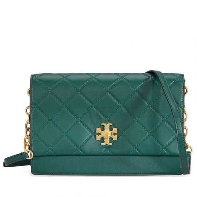 ff2877018 NWT 41709 Authentic Tory Burch Georgia Leather Turn-Lock Malachite Crossbody  Bag