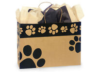 "RECYCLED KRAFT ""PAW PRINT"" shopping gift bags (vogue 16x6x12) 50 ct"