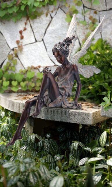 Sitting Fairy Green Grey 24 Inch Resin, Garden Statue Fairy
