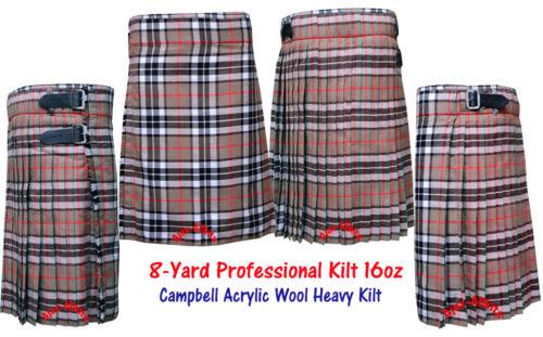 Men/'s Scottish Traditional 8-Yard 16oz Campbell Tartan Kilt with Free Kilt Pin