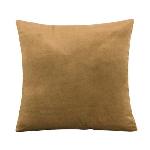 Soft Simple Throw Pillow Case Plain Color Velvet Cushion Cover Sofa Home Décor