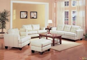 Details about Samuel Cream Off White Bonded Leather Living Room Sofa &  Loveseat Couch Set