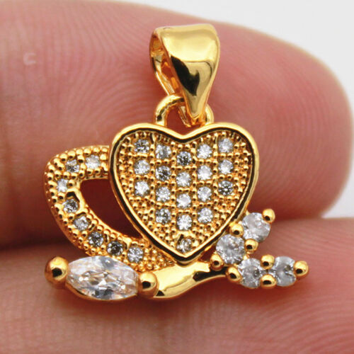 18k Gold Filled-Clear Zircon Feuille Coeur Creux multicouche Ball Lady pendentif