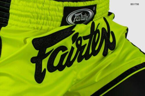 Fairtex BS1706 Satin Shorts Boxing Muay Thai Lime Green Slim Cut Trunks MMA K1