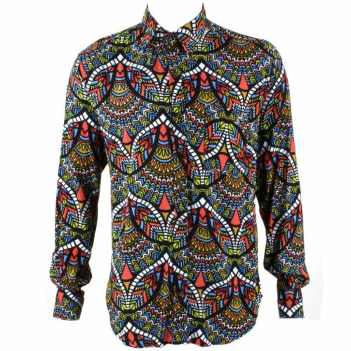 Homme haut shirt retro psychédélique festival fête funky abstract multi regular